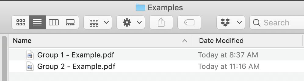 Two versions of a PDF in a file manager