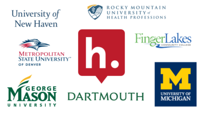 The Hypothesis logo surrounded by logos for Dartmouth College, Finger Lakes Community College, George Mason University, Metropolitan State University of Denver, Rocky Mountain University of Health Professions, University of Michigan, and University of New Haven.
