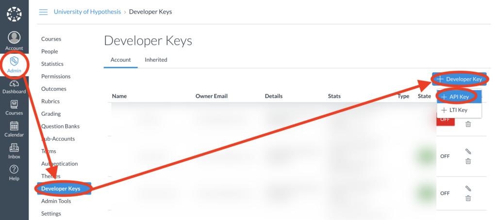 Add Canvas Developer Key page
