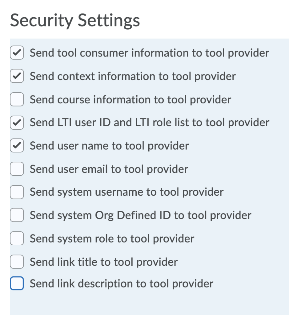 Security Settings checkboxes
