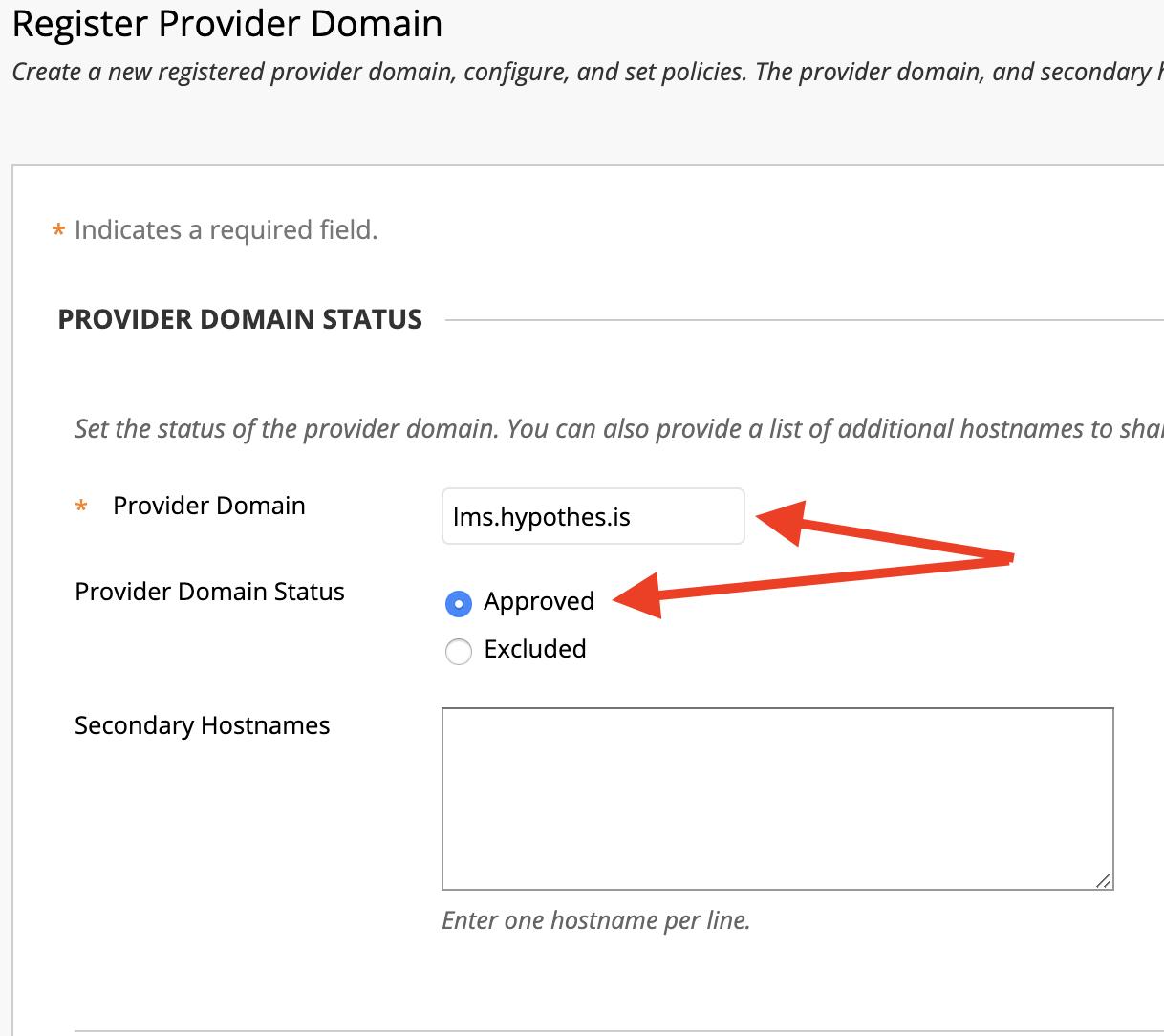 Register Provider Domain configuration