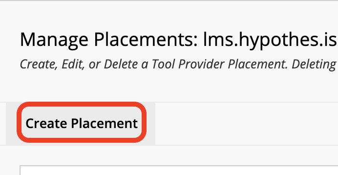 Create Placement button