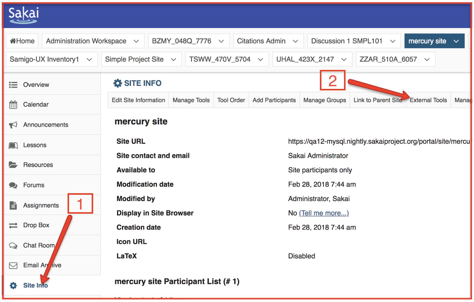 Location of Sakai Site Info - External Tools tab