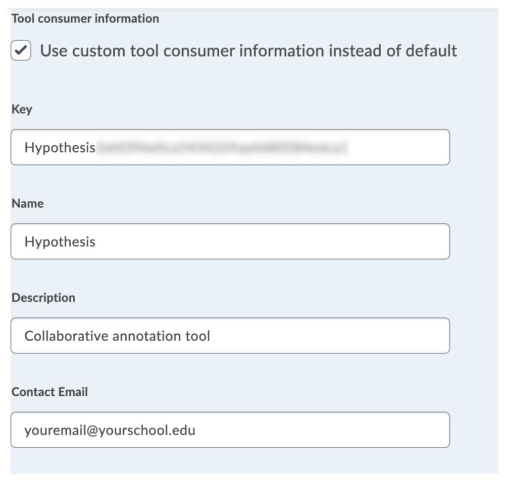 Tool consumer information fields