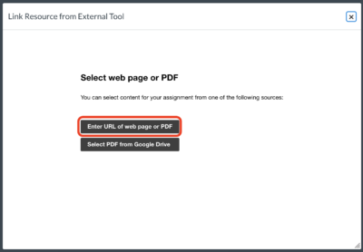 Enter URL of web page or PDF button.