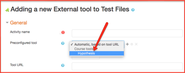 Selecting Hypothesis from preconfigured tool drop-down menu