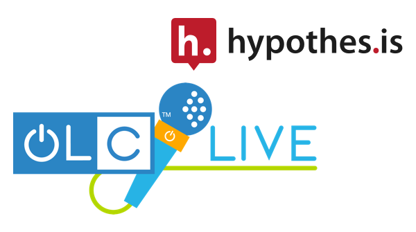 The Hypothesis icon and wordmark above the microphone in the OLC Live logo.