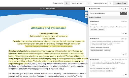 Screenshot of the Hypothesis annotation grading view in Blackboard Learn.