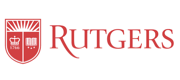Red logo and wordmark for Rutgers University.