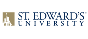 Gold logo and blue wordmark for St. Edward's University.