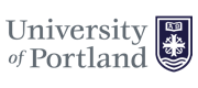 Grey wordmark and purple logo of the University of Portland.