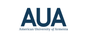 Blue logo and wordmark for the American University of Armenia.