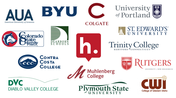 The Hypothesis logo surrounded by logos for 14 educational institutions: American University of Armenia, Brigham Young University, Colgate University, College of Western Idaho, Colorado State University-Pueblo, Contra Costa College, Dearborn Public Schools, Diablo Valley College, Muhlenberg College, Plymouth State University, Rutgers University, St. Edward's University, Trinity College, and University of Portland.