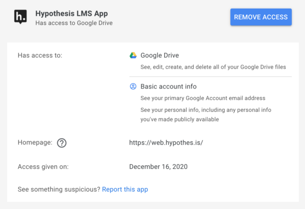 Google third-party app window describing Hypothesis LMS App permissions