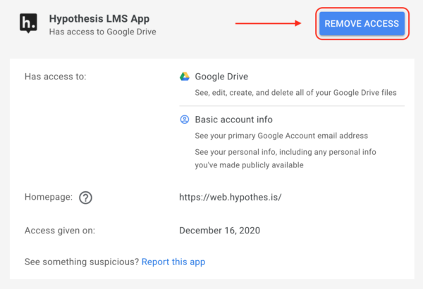 """Location of """"Remove Access"""" button for Hypothesis LMS App"""
