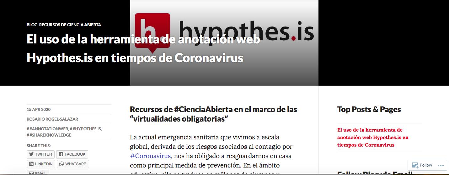 El uso de la herramienta de anotación web Hypothes.is en tiempos de Coronavirus