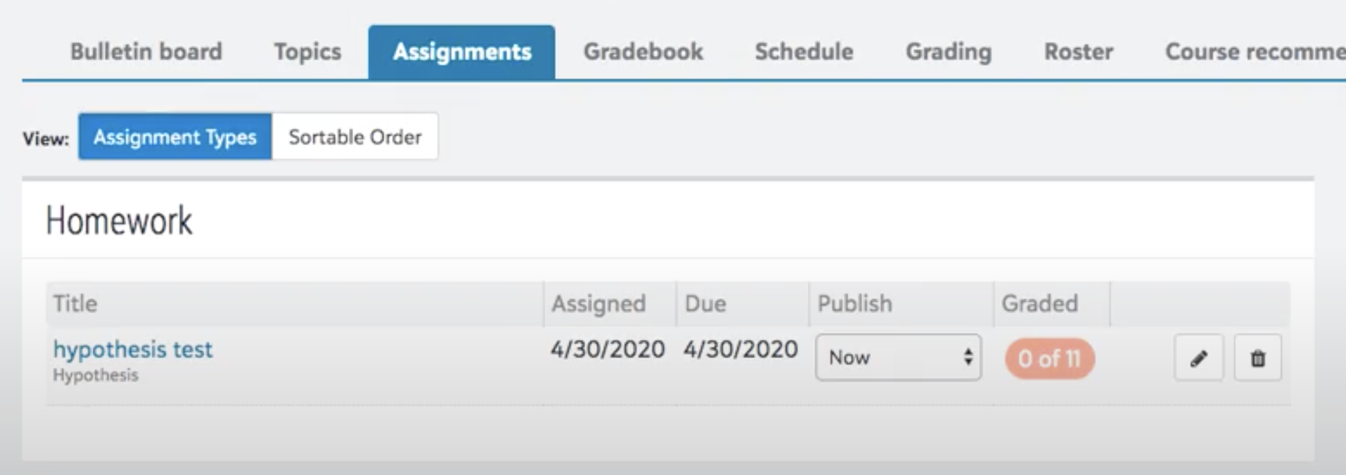 Blackbaud enter assignment page