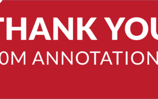 Thank you 10 million annotations in white letters on a red banner.