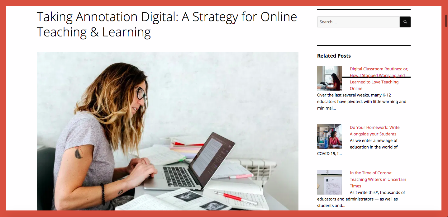 Taking Annotation Digital: A Strategy for Online Teaching & Learning