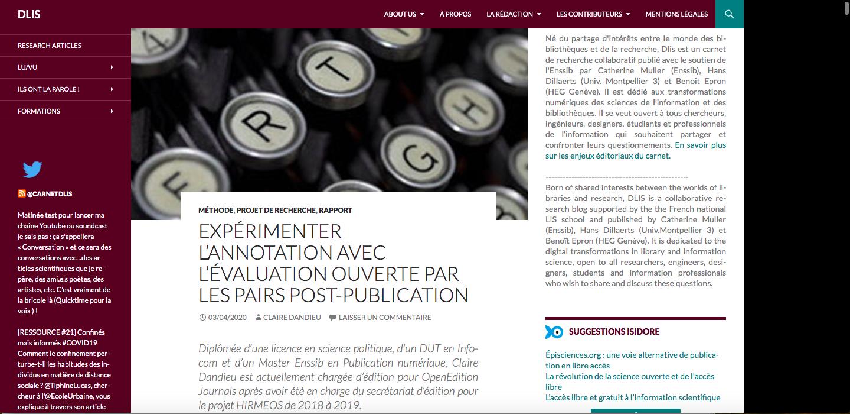 EXPÉRIMENTER L'ANNOTATION AVEC L'ÉVALUATION OUVERTE PAR LES PAIRS POST-PUBLICATION