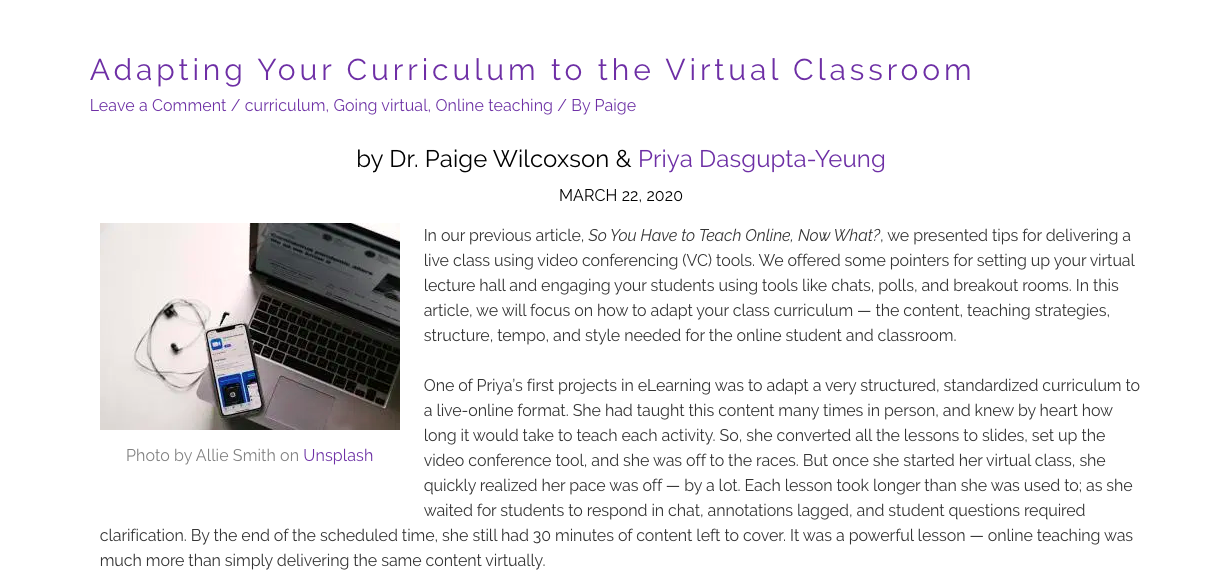 Adapting Your Curriculum to the Virtual Classroom