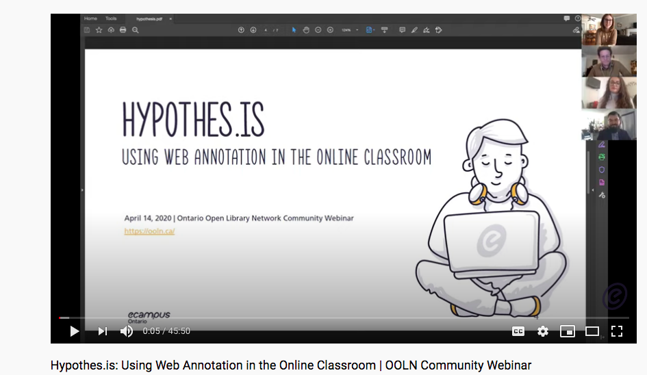Video: Hypothes.is: Using Web Annotation in the Online Classroom | OOLN Community Webinar