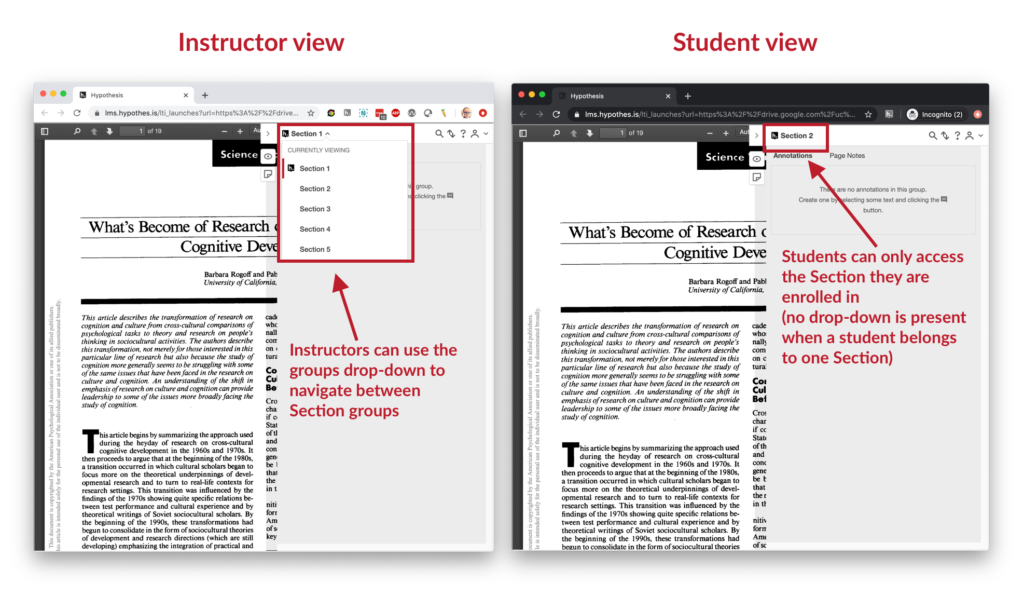 a side-by-side view of the teacher and student views for Section groups. Teachers navigate between sections using a drop-down menu at the top of the Hypothesis sidebar; students have only the section in which they are enrolled available to them (so no drop-down menu is present)