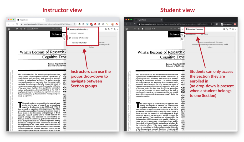 a side-by-side view of the teacher and instructor view of the new Sections feature. The teacher can use a drop-down menu at the top of the Hypothesis sidebar to navigate between Section groups; the Student only sees the one group they belong to and no drop-down menu is present