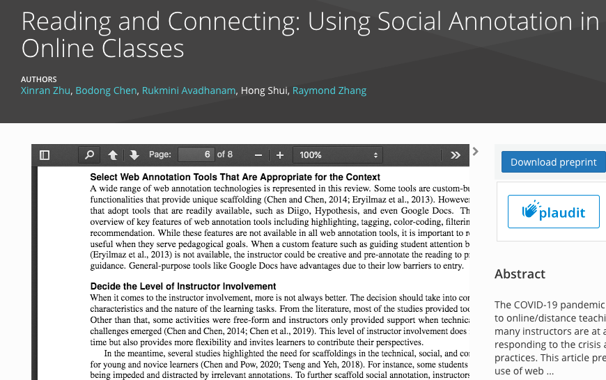 Reading and Connecting: Using Social Annotation in Online Classes