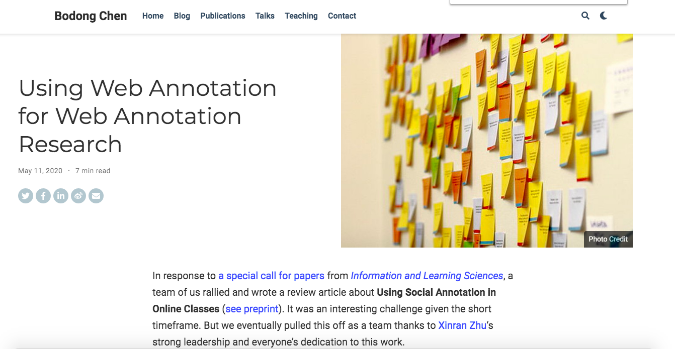 Using Web Annotation for Web Annotation Research