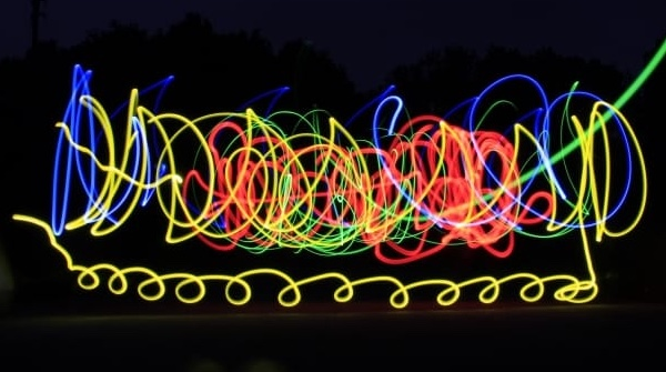 Multicolored lights leaving trails in the night sky.