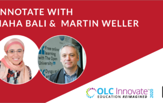 Annotate with Maha Bali & Martin Weller: their headshots and an OLC Innovate 2020 logo.