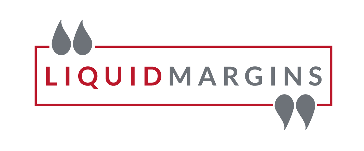 The words LIQUID MARGINS in a red box with grey droplets entering the box from above and below.