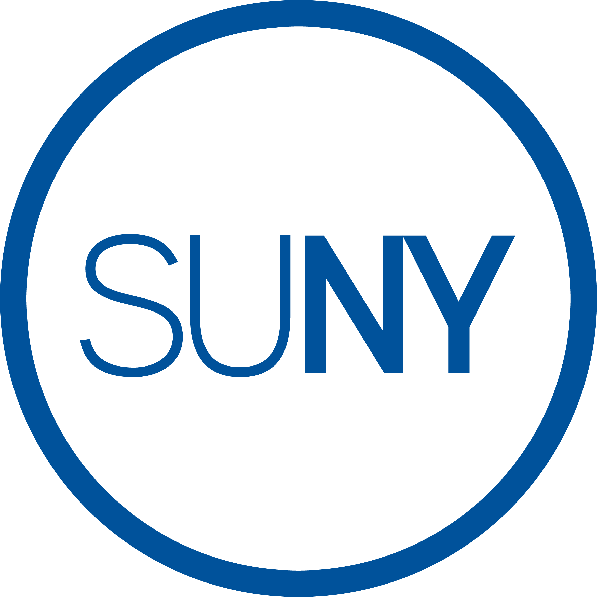 State University of New York logo: Blue SUNY letters in a blue circle.