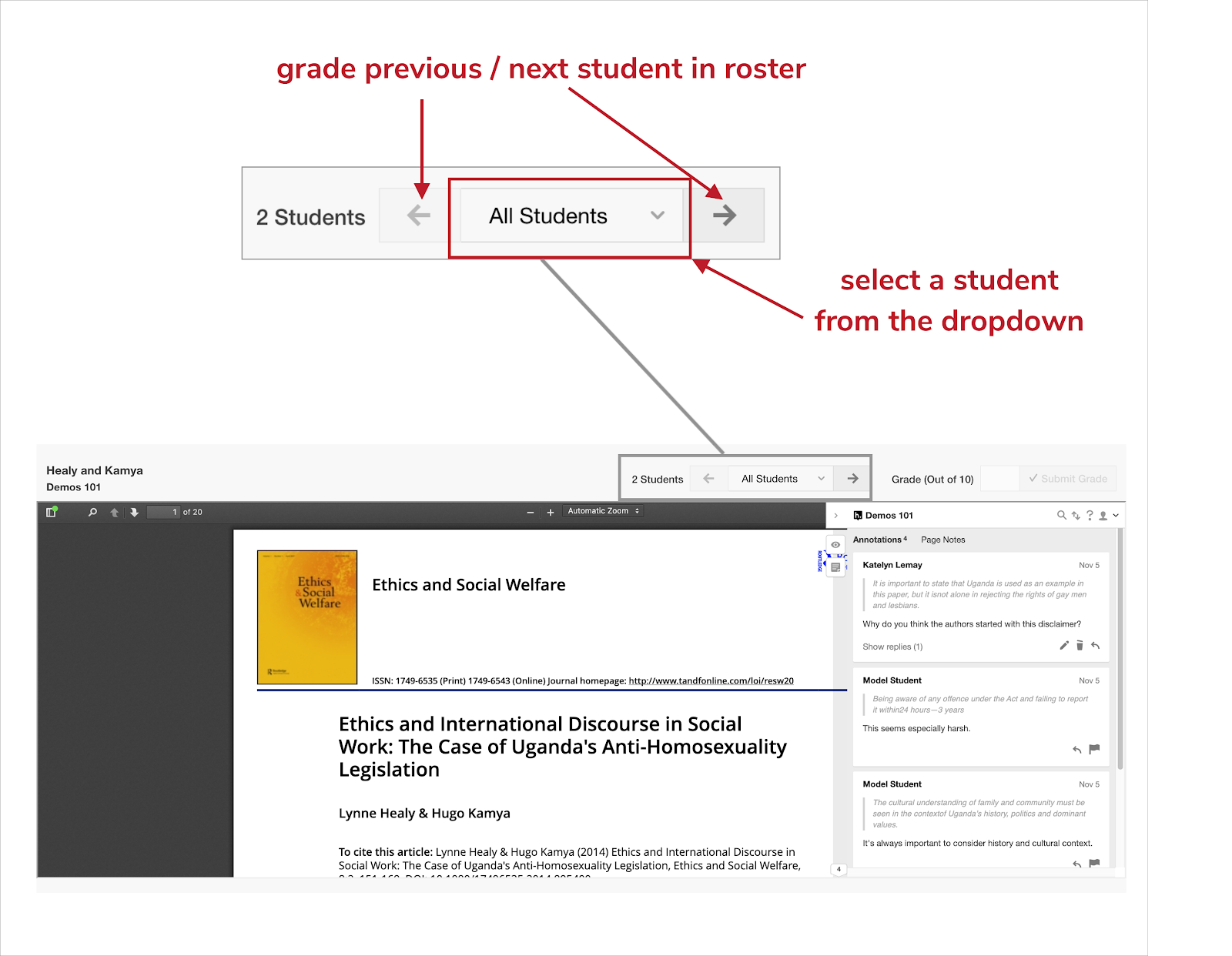 Changing students in grading bar