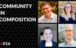 "Justin Hodgson, Laura Rosche, Alex Penn, and Remi Kalir thumbnail images and the words ""Community in Composition"""