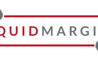 """The Liquid Margins logo: A red """"LIQUID"""" and gray """"MARGINS"""" surrounded by a red box that has two gray """"droplet"""" qoute marks interrupting the top and bottom frames of the box."""