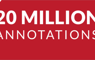 White letters on red background and the words 20 Million Annotations
