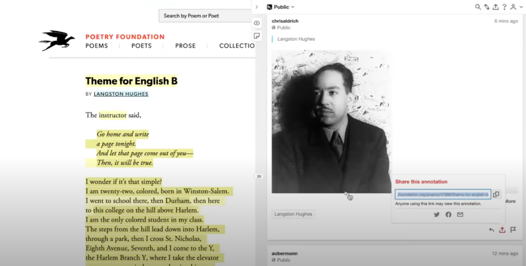 Screenshot with the Hypothesis annotation window open on the right side of the screen with an image of Langston Hughes as an annotation, and on the left hand side of the page Langston Hughes' poem Theme for English B