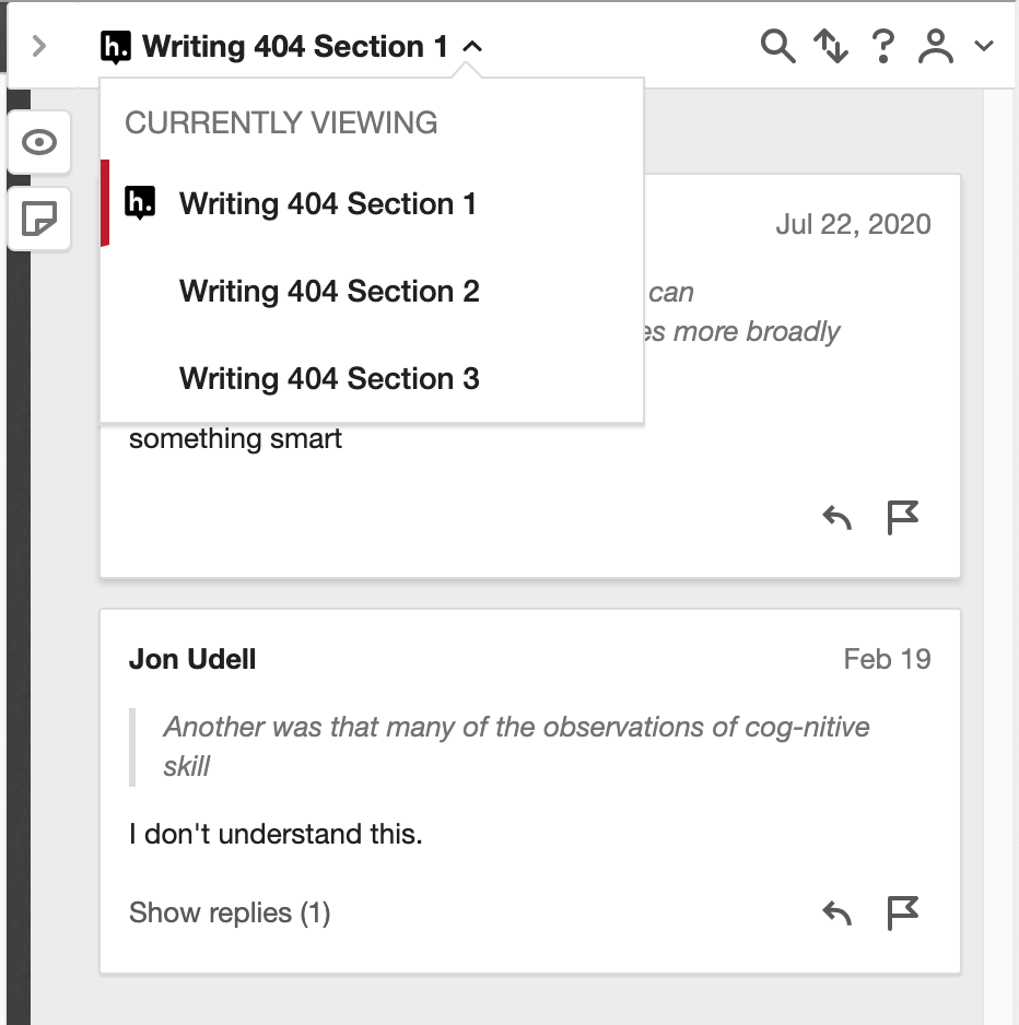 screenshot showing how to select a section from the groups dropdown (expand the menu at the top left of the Hypothesis sidebar)