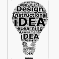 Black, white, and gray drawing of a lightbulb with the words design, idea, instructional, idea, eLearning, idea inside of it