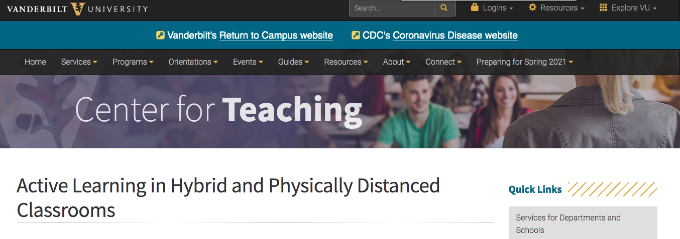 """Screenshot of Vanderbilt University blog post entitled """"Active Learning in Hybrid and Physically Distanced Classrooms"""""""