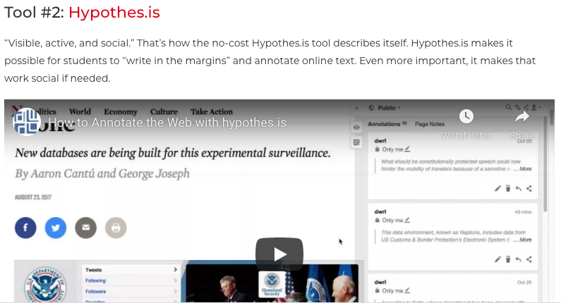 """Screenshot of TCEA article entitled """"Note-Taking and Outlining: Five Digital Helpers"""" with an image of the Hypothesis social annotation tool in action"""