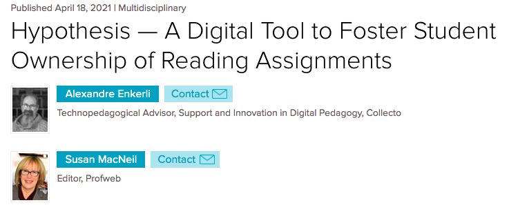 """Screenshot of ProfWeb article entitled """"A Digital Tool to Foster Student Ownership of Reading Assignments"""" and underneath that are thumbnails of the authors Alexandre Enkerli and Susan MacNeil"""