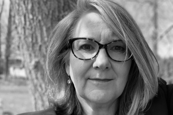 Black and white portrait of Loree Buchan.