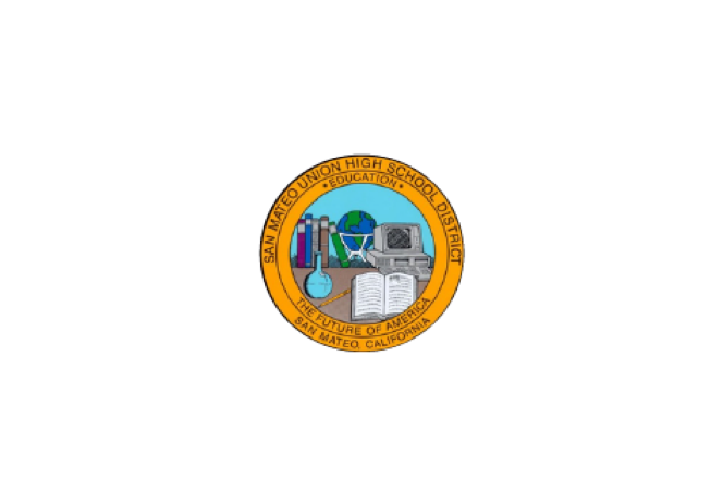 San Mateo Union High School District logo with circle that has inside of it illustrations of books, a beaker, a pencil, a laptop, and a globe