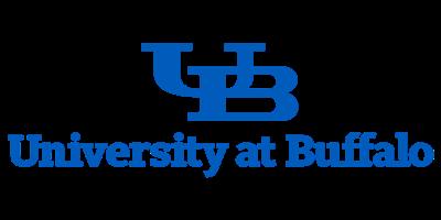 SUNY Buffalo logo: sky blue U and B intersecting and the words University at Buffalo