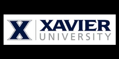 "Xavier University logo: X followed by the words ""Xavier University"""