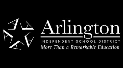 Arlington Independent School District logo in white letter on black background