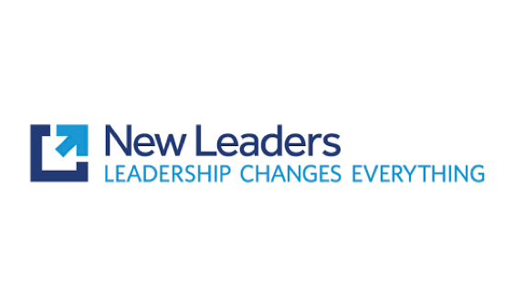 Navy blue and sky blue New Leaders logo with the words Leadership Changes Everything